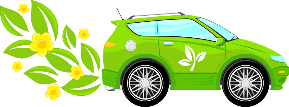 concept illustration of green ecology car with flowers and leaves isolated on white background